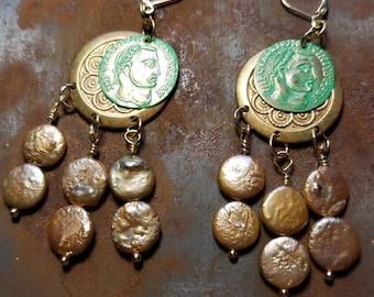 Coin Pearl Dangle Earrings