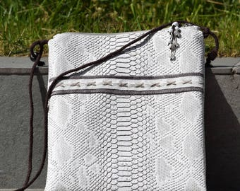 faux white comodo dragon shoulder clutch bag