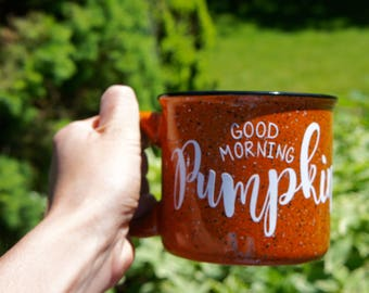 "15 Ounce Terra Cotta Orange ""Good Morning Pumpkin"" Campfire Mug"