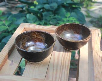 Tenmoku Speckled Pottery Small Bowl Set