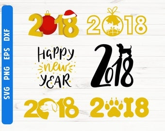 2018 SVG New year 2018 svg 2018 numbers Digital files Cricut Silhouette Commercial use svg