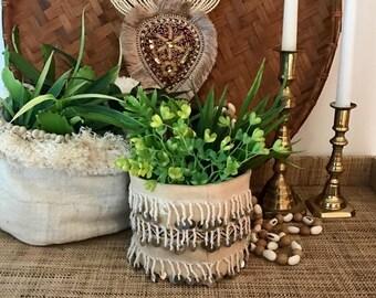 MOROCCAN ETHNIC Plant Holder /  HANDIRA Wedding Blanket Jungalow Textile Plant Holder / Bohemian Plant Pot