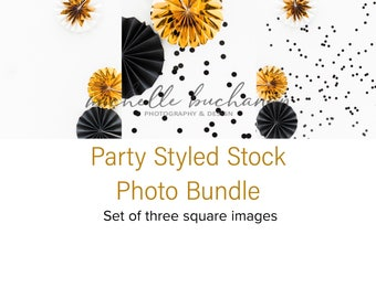 Black & Gold Party Styled Stock Photo Bundle - 3 Square Images - Black, Gold, White, Confetti - Digital Download - MBB8