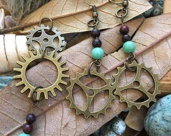 Handmade, Boho, Industrial, Steampunk, Bronze, Brass, Gear, Turquoise Bead, Earring and Pendant Set