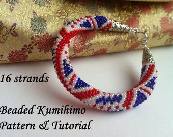 16 strands beaded kumihimo pattern tutorial british flag