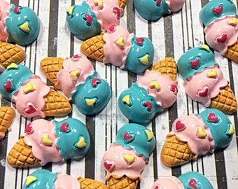 Kawaii ice cream cabochons - kawaii sweets cabochons - kawaii food cabochons - ice cream cone