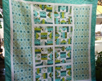 Aqua and Brown Quilt