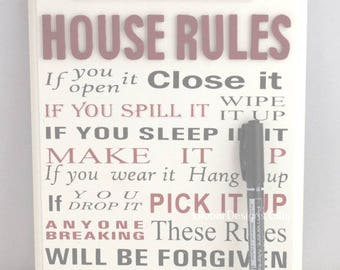 Plaque House Rules Funny Rules For the Anywere In The House Personalise F1221B