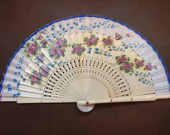 Vintage Wooden Fan with Floral design