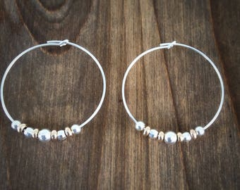 Silver And Gold Hoop Earrings / 9ct Gold Earrings / Silver Hoops With Gold Beads