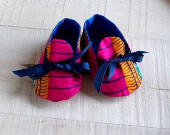 Pink Orange Blue Abstract African Wax Print Baby Booties