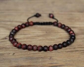 Matte red tiger eye bracelet men bead bracelet men evil eye bracelet good luck jewelry men healing protection bracelet boyfriend gift idea
