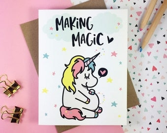 Unicorn Pregnancy Announcement Card | Baby Announcement Card | Pregnancy Reveal Card | Funny Pregnancy Card | Cute Pregnancy Announcement