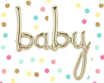 "46"" Baby Balloon, White Gold Foil, Baby Script Balloon, Baby Shower Decor, Baby Shower Photo Prop, Baby Announcement, Balloon Garland, Word"