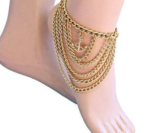 foot chain Crystal Rhinestone Gold Barefoot Sandal, toe ankle chain, Foot high heels Jewellery
