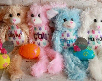 Easter basket ideas etsy easter bunny personalized easter bunny easter plush boy bunny girl bunny negle Choice Image