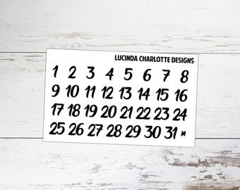 Black Numbers | Dates | Planner Stickers