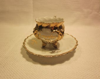 """Antique """"Remember Me"""" memorial footed demitasse cup and saucer"""