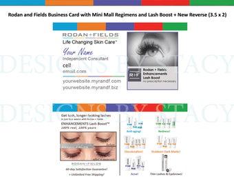 Rodan and Fields Business Card Design with lash Boost + regimens! Digital + Printed option