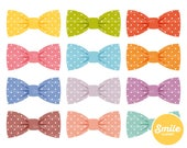 Polka Dot Bow Tie Clipart Illustration for Commercial Use | 0274