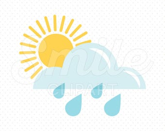 SUNNY WITH RAIN Clipart Illustration for Commercial Use | 0012