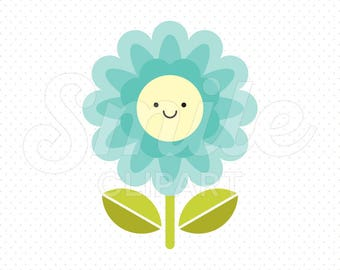 HAPPY AQUA FLOWER Clipart Illustration for Commercial Use | 0031