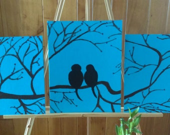 Silhouetted Birds on a Branch Painting