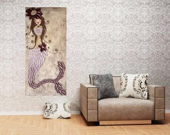 Textured mermaid painting original plum ombre mermaid tail art on ready to hang canvas 48x24