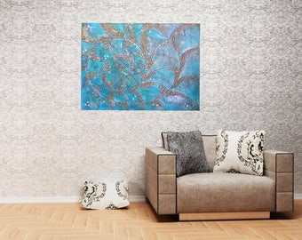 Textured beach seashell art original impasto conch artwork aqua teal gold 40x30