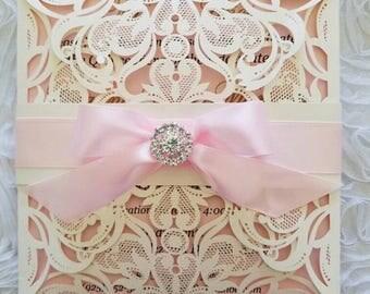 200 beautiful laser cut Invitations /quinceanieras/sweet16 /weddings