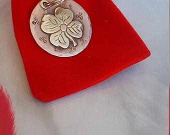 Handmade A 55 Dog Tag - Dog ID Tag - Pet Tag - Dog Tags Custom Brass on Copper Four leaf Clover