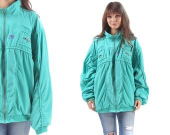NIKE PARKA Jacket 80s Turtleneck Light Insulation Zip Up Anorak Jacket Coat Teal Green Multi Pocket Grunge Boho Vintage Bohemian XXL