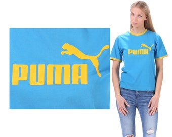 Vintage Puma T Shirt 90s Blue Ringer Tee Shirt Spell Out Yellow Logo Active Wear Workout Sports Shirt  Logo Men Women Unisex Cotton S to M