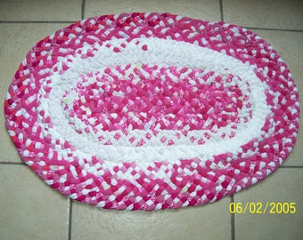 Pink & White Oval Rug