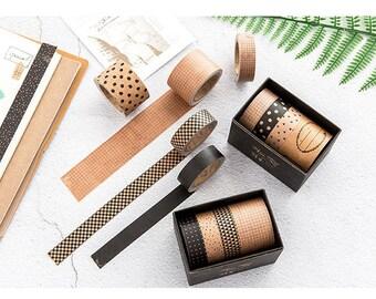 Set of 4 Kraft Paper Tape Series - Planner, Journal, Craft, Scrapbooking, Decoration