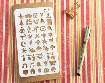 Bullet Journal Stencil #C7 - Planner, Journal, Craft, Scrapbooking, Decoration