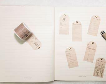 Vintage Style Journal Labels Washi Tape - Planner, Journal, Craft, Scrapbooking, Decoration