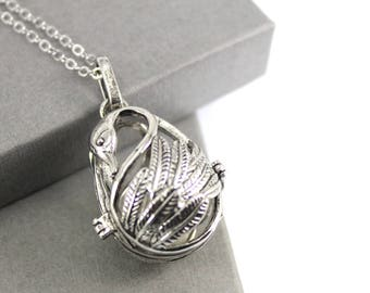 Swan Locket with Fillable Glass Orb, Ashes Holder, Urn Locket, Fillable Jewelry, Cremation Necklace