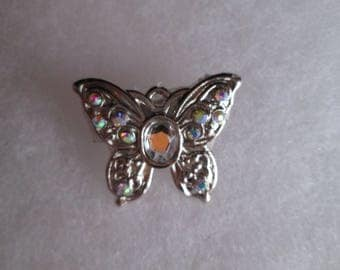 Silver and Clear AB Glass Butterfly Brooch