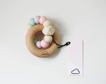 Silicone & Wood PASTEL Baby Teether - Mordedor - Chupetero - Schnullerkette - hochet - Beißring