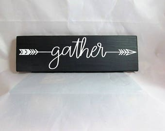 """Inspirational Wood Sign, Says: """"Gather""""  Cute Little Sign, Home Wall Decor, Primitive, Distressed...Great Gift."""