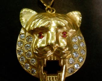 Exotic 10k Yellow Gold Jeweled Tiger Pendant Wt 8.9 grams