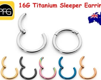 1pr 16G Titanium 6mm -16mm Hinged Sleeper Hoop Earrings Segment Rings