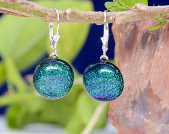 Pine green dichroic fused glass with sterling silver lever back drop earrings, dichroic jewelry, dainty sparking earrings, girl's gift