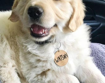 Personalised Wood Dog Tag-Cat-Pet