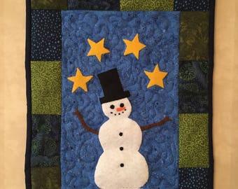 Snowman quilt wall hanging