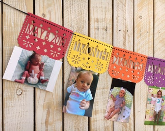 Papal Picado First Year Photo Banner for First Birthday, Fiesta | First Birthday Monthly Photos Banner |  First Fiesta Decorations