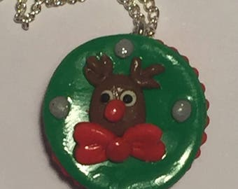 Rudolph necklace, Christmas necklace, Xmas necklace