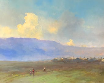 The Hill, Original oil Painting, Museum Quality, Handmade artwork, Oil on Linen, Signed