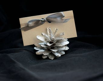 painted pinecones silver pine cone winter place card holders woodland card holder